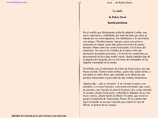 """Breve comentario del cuento """"La Ninfa"""" de RubénDarío"""