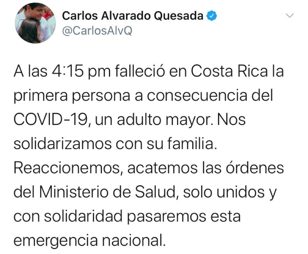 Ministerio de Salud Costa Rica informa del primer fallecido por caso deCORONAVIRUS