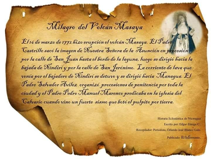 Un día como hoy en 1772, hace 248 años, el cráter Santiago del Volcán Masaya hizo erupción, la población pidió la intercesión de la Virgen de laAsunción